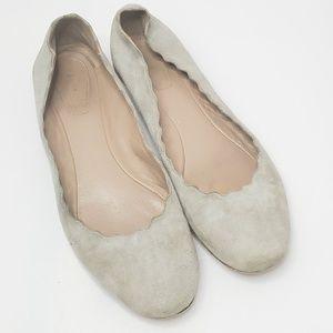 Chloe Suede Plonge Lamb Ballet Flats shoes